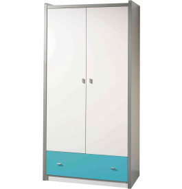 Armoire enfant laqué blanc et bleu turquoise 2 portes 1 tiroir