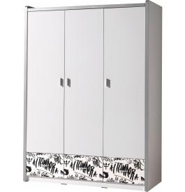 Armoire enfant laqué blanc et motifs graffiti 3 portes 3 tiroirs