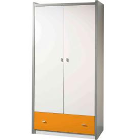 Armoire enfant laqué blanc et orange 2 portes 1 tiroir