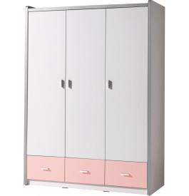 Armoire enfant laqué blanc et rose clair 3 portes 3 tiroirs