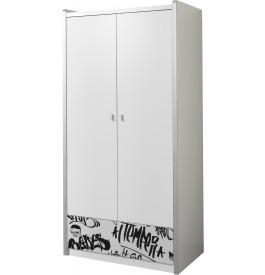 Armoire enfant laqué blanc motifs graffiti 2 portes 1 tiroir