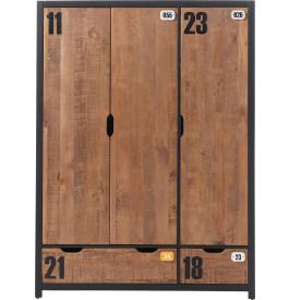 Armoire enfant pin massif 3 portes 2 tiroirs ALEX