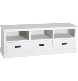 banc tv bois exotique blanc 3 niches 3 tiroirs meuble tv et hifi salon. Black Bedroom Furniture Sets. Home Design Ideas