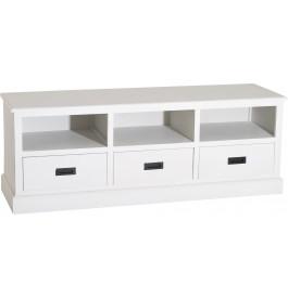 Banc tv bois exotique blanc 3 niches 3 tiroirs meuble tv for Banc tv bois blanc