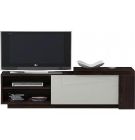 Banc TV design chêne chocolat laque blanc 1 porte 2 niches avec module