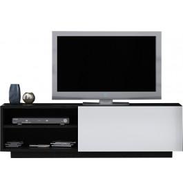 Banc TV design chêne noir laque blanc 1 porte 2 niches