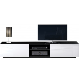Banc tv design ch ne noir laque blanc 2 portes 2 niches for Meuble tv noir et blanc laque