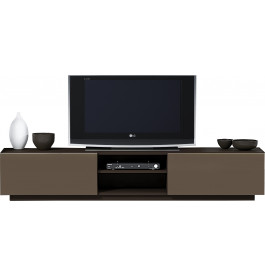 Banc TV design laque chocolat et taupe 2 portes 2 niches