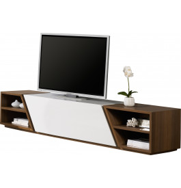 Banc TV design laque et noyer 2 portes