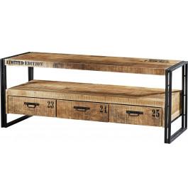 Banc TV industriel 3 tiroirs acacia métal