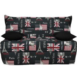 Banquette BZ tissu London Paris matelas 140x190 Sofaflex mousse