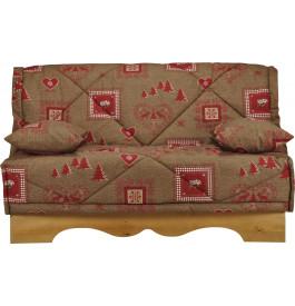 Banquette BZ tissu chalet brun socle en pin massif matelas 140x200 Bultex mousse