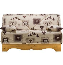 Banquette BZ tissu chalet écru et brun socle en pin massif matelas 140x200 Bultex mousse