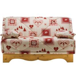 Banquette BZ tissu chalet écru et rouge socle en pin massif matelas 140x200 Bultex mousse