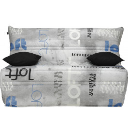Banquette BZ tissu motifs Loft gris matelas 160x200 Sofaflex mousse