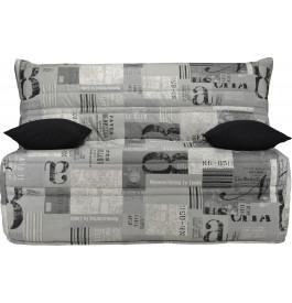 Banquette BZ tissu motifs New paper gris matelas 140x190 Sofaflex mousse