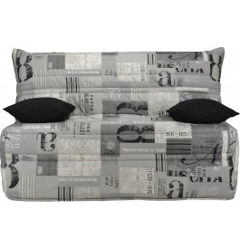 Banquette BZ tissu motifs New paper gris matelas 160x200 Sofaflex mousse
