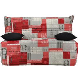 Banquette BZ tissu motifs New paper rouge matelas 140x190 Sofaflex mousse