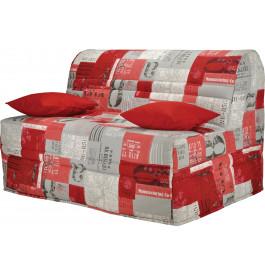 Banquette BZ tissu motifs New paper rouge matelas 140x200 Sofaconfort mousse