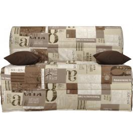 Banquette BZ tissu motifs New paper sépia matelas 140x200 Sofaconfort mousse