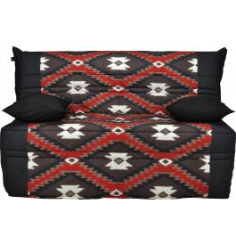 Banquette BZ tissu motifs ethnique rouge et noir matelas 140x190 Sofaflex mousse
