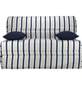 Banquette BZ tissu motifs rayé bleu matelas 140x200 Sofaconfort mousse