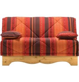 Banquette BZ tissu motifs éthnic socle en pin massif matelas 140x200 Bultex mousse