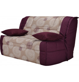 banquette bz tissu motifs violet matelas 140x190 bultex mousse hr. Black Bedroom Furniture Sets. Home Design Ideas
