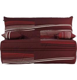 Banquette BZ tissu prune à motifs matelas 140x190 Sofaflex mousse
