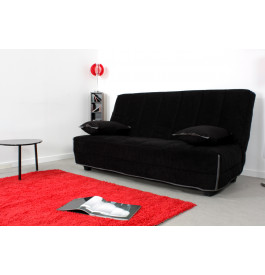 Banquette clic-clac Dunlopillo ELECC130AN microfibre noire - Ambiance
