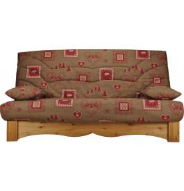 Banquette clic-clac tissu chalet brun socle en pin massif matelas Bultex mousse