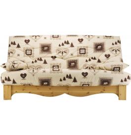 Banquette clic-clac tissu chalet écru et brun socle en pin massif matelas Bultex mousse