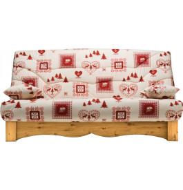Banquette clic-clac tissu chalet écru et rouge socle en pin massif matelas Bultex mousse