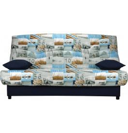 Banquette clic-clac tissu motif marin bleu matelas Sofaflex mousse