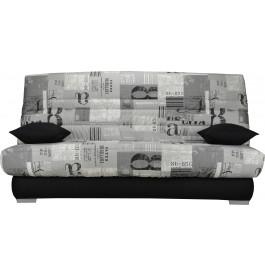 Banquette clic-clac tissu motifs New paper gris matelas Sofaconfort mousse