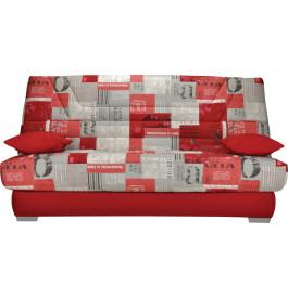 Banquette clic-clac tissu motifs New paper rouge matelas Bultex mousse HR