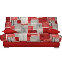 Banquette clic-clac tissu motifs New paper rouge matelas Sofaconfort mousse