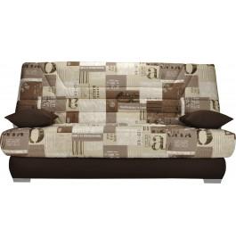 banquette clic clac tissu motifs new paper s pia matelas 130x190 bultex mousse hr. Black Bedroom Furniture Sets. Home Design Ideas