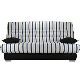 Banquette clic-clac tissu motifs rayé bleu matelas Sofaconfort  mousse