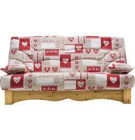 Banquette clic-clac tissu patchwork cœur socle en pin massif matelas Bultex mousse