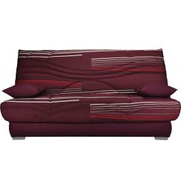 Banquette clic-clac tissu prune à motifs matelas Sofaconfort mousse