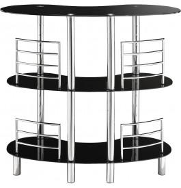 Bar design aluminium plateau verre noir