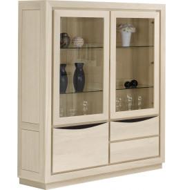Bibliothèque 2 portes vitrées chêne massif blanc pierre 1 porte 2 tiroirs