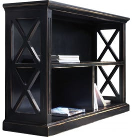biblioth que basse ouverte ch ne noir 3 cases d cors croisillons biblioth que bureau. Black Bedroom Furniture Sets. Home Design Ideas