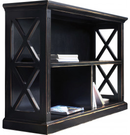 Bibliothèque basse ouverte noir 3 cases décors croisillons