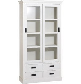 biblioth que bois exotique blanc 2 portes coulissantes vitr es 4 tiroirs. Black Bedroom Furniture Sets. Home Design Ideas