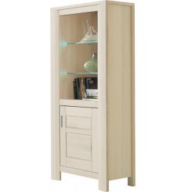Bibliothèque chêne blanchi 1 porte 2 étagères verre