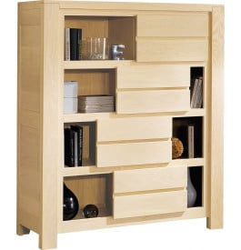 Bibliothèque chêne blanchi 4 portes coulissantes