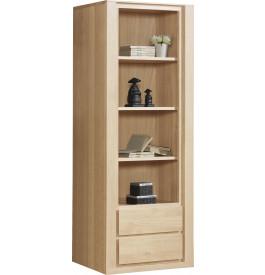 Bibliothèque ouverte chêne naturel 3 étagères 2 tiroirs