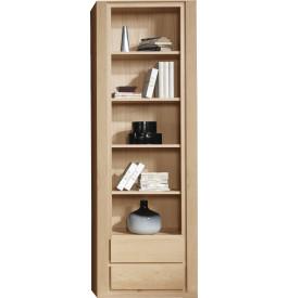 Bibliothèque ouverte chêne naturel 4 étagères 2 tiroirs